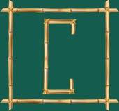 大写字母C做了现实棕色干燥竹杆里面木棍子框架 皇族释放例证