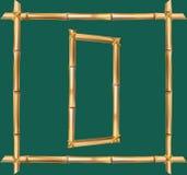 大写字母D做了现实棕色干燥竹杆里面木棍子框架 库存例证