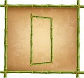 大写字母D做了绿色竹棍子在老纸背景 向量例证