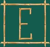 大写字母E做了现实棕色干燥竹杆里面木棍子框架 向量例证