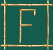 大写字母F做了现实棕色干燥竹杆里面木棍子框架 库存例证