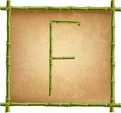 大写字母F做了绿色竹棍子在老纸背景 库存例证