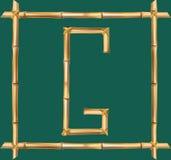 大写字母G做了现实棕色干燥竹杆里面木棍子框架 库存例证