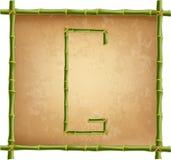 大写字母G做了绿色竹棍子在老纸背景 库存例证
