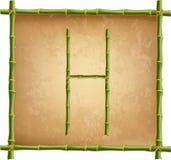 大写字母H做了绿色竹棍子在老纸背景 皇族释放例证