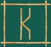 大写字母K做了现实棕色干燥竹杆里面木棍子框架 向量例证
