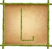 大写字母L做了绿色竹棍子在老纸背景 向量例证
