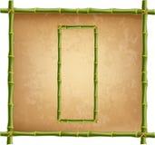 大写字母O做了绿色竹棍子在老纸背景 皇族释放例证
