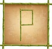 大写字母P做了绿色竹棍子在老纸背景 库存例证