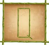 大写字母Q做了绿色竹棍子在老纸背景 向量例证