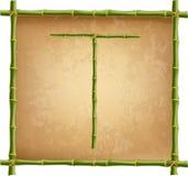 大写字母T做了绿色竹棍子在老纸背景 库存例证