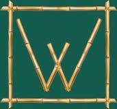 大写字母W做了现实棕色干燥竹杆里面木棍子框架 库存例证