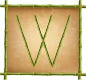 大写字母W做了绿色竹棍子在老纸背景 库存例证