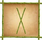 大写字母X做了绿色竹棍子在老纸背景 库存例证