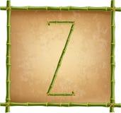 大写字母Z做了绿色竹棍子在老纸背景 向量例证