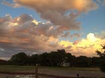 大农场篱芭和发光的桔子和白色蓬松云彩  免版税库存图片