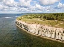 大切刀沿海峭壁大切刀pank,萨列马岛海岛北部岸,在库雷萨雷附近,爱沙尼亚 北部爱沙尼亚石灰石悬崖, 免版税库存照片