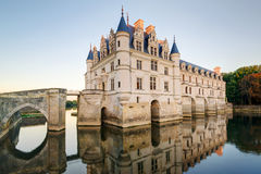 大别墅在日落的de Chenonceau,法国 图库摄影