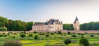 大别墅在日落的de Chenonceau,法国 免版税图库摄影