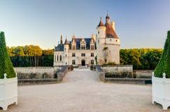 大别墅在日落的de Chenonceau,法国 免版税库存图片