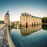大别墅在日落的de Chenonceau,法国 免版税库存照片