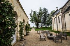 大别墅拒马Blanc豪宅庭院,圣Emilion,右岸,红葡萄酒,法国 免版税库存图片