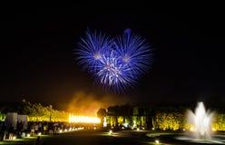 大别墅de凡尔赛庭院在晚上-法国 免版税库存照片