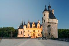 大别墅de Chenonceau在晚上,法国 库存图片