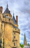 大别墅de Langeais,一座城堡的塔在卢瓦尔河流域,法国 库存图片