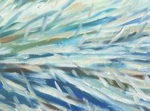 大刷子冲程 白色,蓝色和绿色口气 森林横向油画河 库存照片