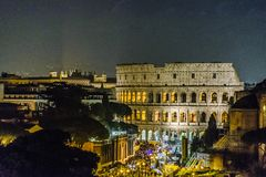 大剧场鸟瞰图夜场面,罗马 免版税库存照片