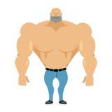 大力士胸部赤裸在蓝色牛仔裤 与巨大的m的运动身体 皇族释放例证