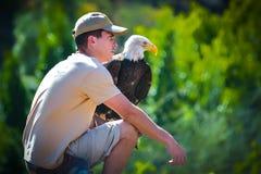 大加那利岛,西班牙- 2017年3月10日-在鸷的美国白头鹰在Palmitos公园的展示在Maspalomas,大加那利岛, Spai 免版税库存照片