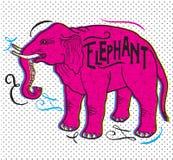 大动物 在米黄背景的大象 与标志的大象 免版税库存图片