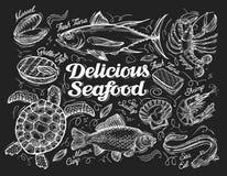 大包可口干果查出的海鲜发球区域白色 鱼的手拉的剪影,金枪鱼,龙虾,虾,扇贝,鳗鱼,鲤鱼,乌龟,淡菜,巧克力精炼机 向量 向量例证