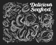 大包可口干果查出的海鲜发球区域白色 手拉的剪影章鱼,螃蟹,鱼,比目鱼,鳗鱼,牡蛎,淡菜,龙虾 也corel凹道例证向量 向量例证
