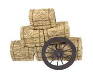 大包备草粮倾斜的驿马车轮子 库存图片