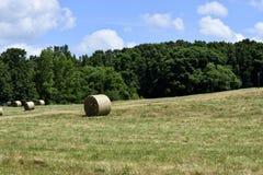 大包干草在农村乔治亚 免版税库存图片