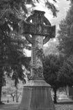 大十字架在一座有雾的老公墓 免版税图库摄影