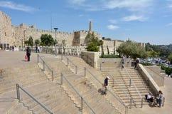 大卫塔和耶路撒冷墙壁老城市 免版税图库摄影