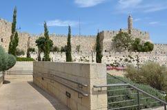 大卫塔和耶路撒冷墙壁老城市 库存图片