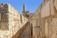 大卫塔在Jerusale,以色列 免版税图库摄影