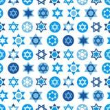 大卫标志汇集蓝星  犹太无缝的样式 库存例证