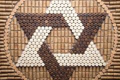 大卫王之星从酒黄柏的在犹太传统,大卫标志,宗教 免版税库存照片
