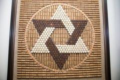 大卫王之星从酒黄柏的在犹太传统,大卫标志,宗教 免版税库存图片