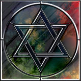 大卫王之星和menorah刻花玻璃符号 免版税图库摄影