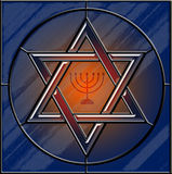 大卫王之星和menorah彩色玻璃 免版税图库摄影
