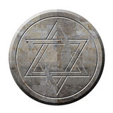 大卫王之星在石头的符号 免版税库存照片