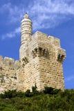 大卫老市锡安山以色列废墟耶路撒冷塔  免版税图库摄影