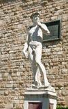 大卫雕象的拷贝米开朗基罗,在Palazzo Vecchio的背景中在广场della Signoria的在佛罗伦萨 库存图片